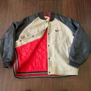 Vintage Nike Swoosh Varsity Leather Jacket XL